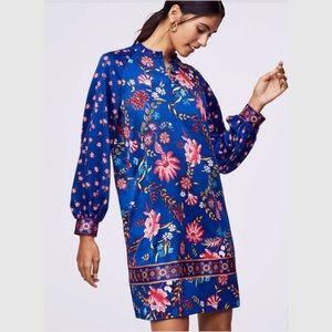 NWT   LOFT BLUE LONG SLEEVE WILDFLOWER SHIFT DRESS